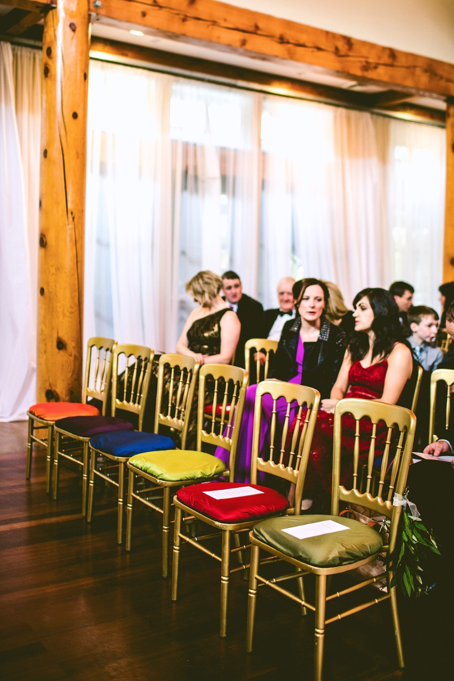 Gold + Pantone colored chairs