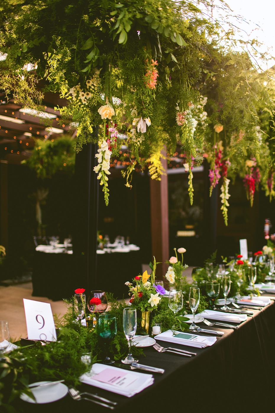 Greenery decor with hanging florals
