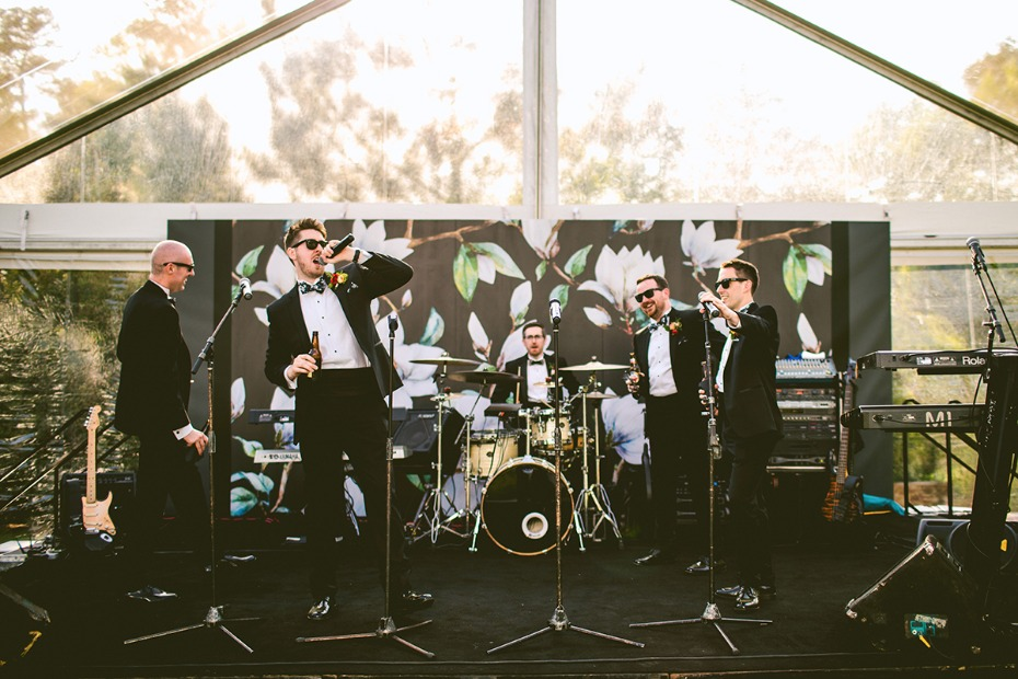 Awesome floral backdrop for the wedding band