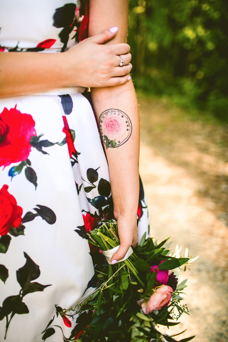 Temp floral tattoo for the bride