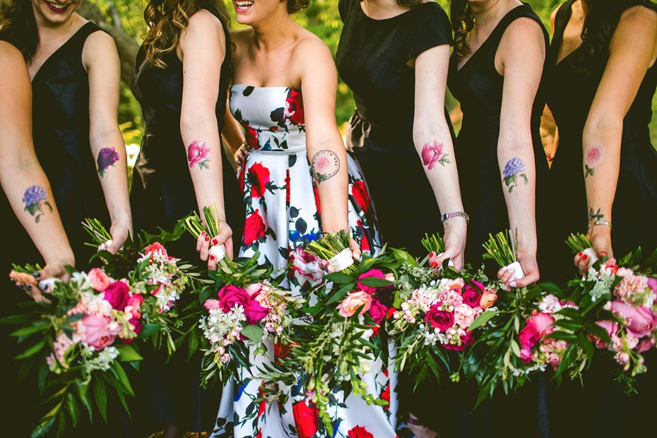 Scented floral tattoos for your bridesmaids