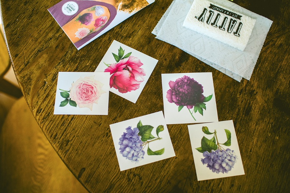 Temporary scented floral tattoos for the bridesmaids