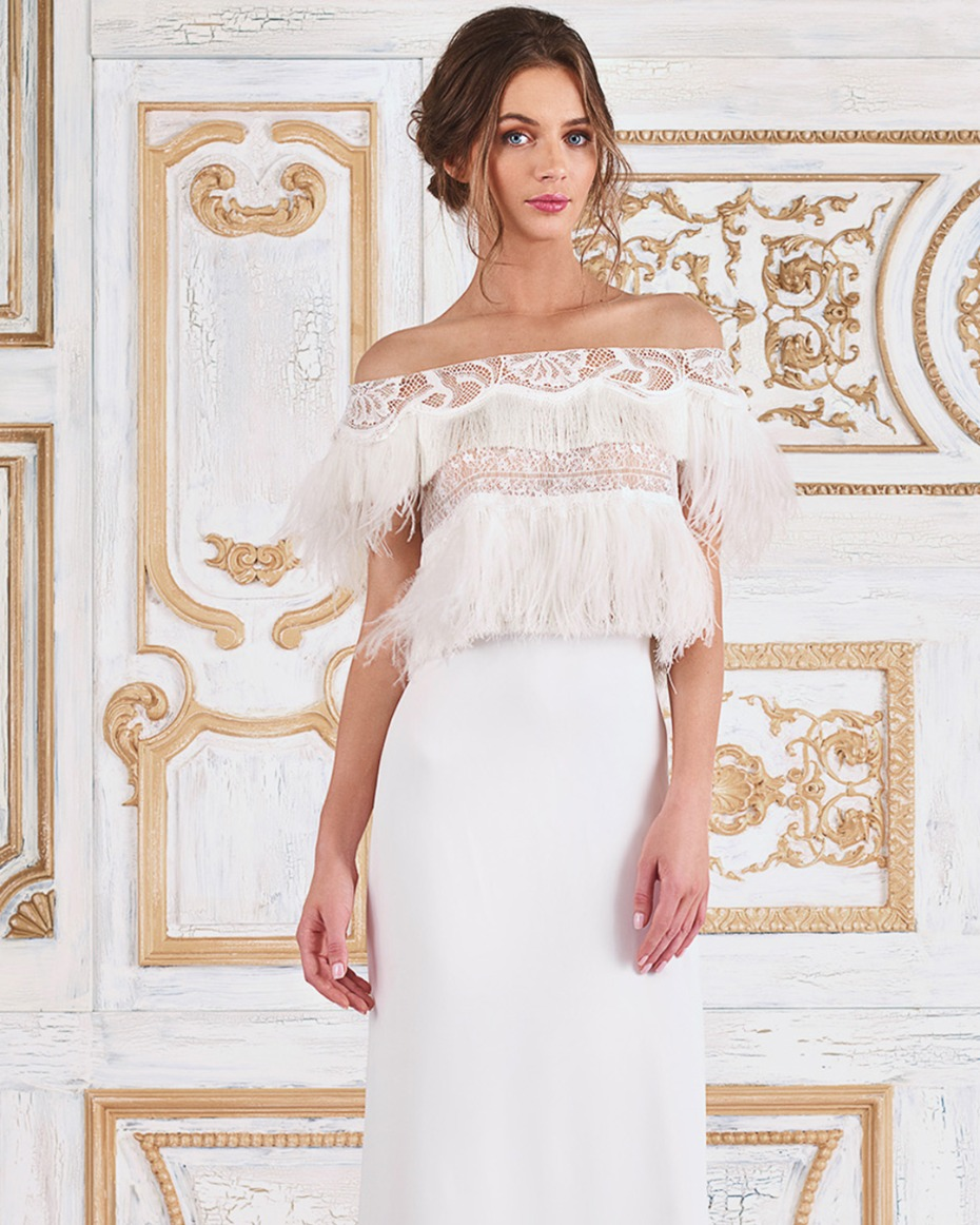 affordable boho fringe wedding dress off the shoulder