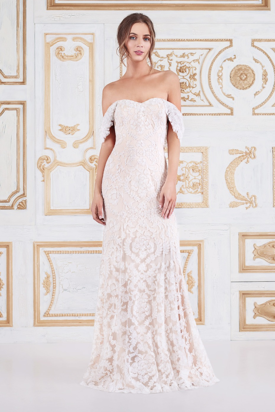 affordable off the shoulder romantic wedding dress