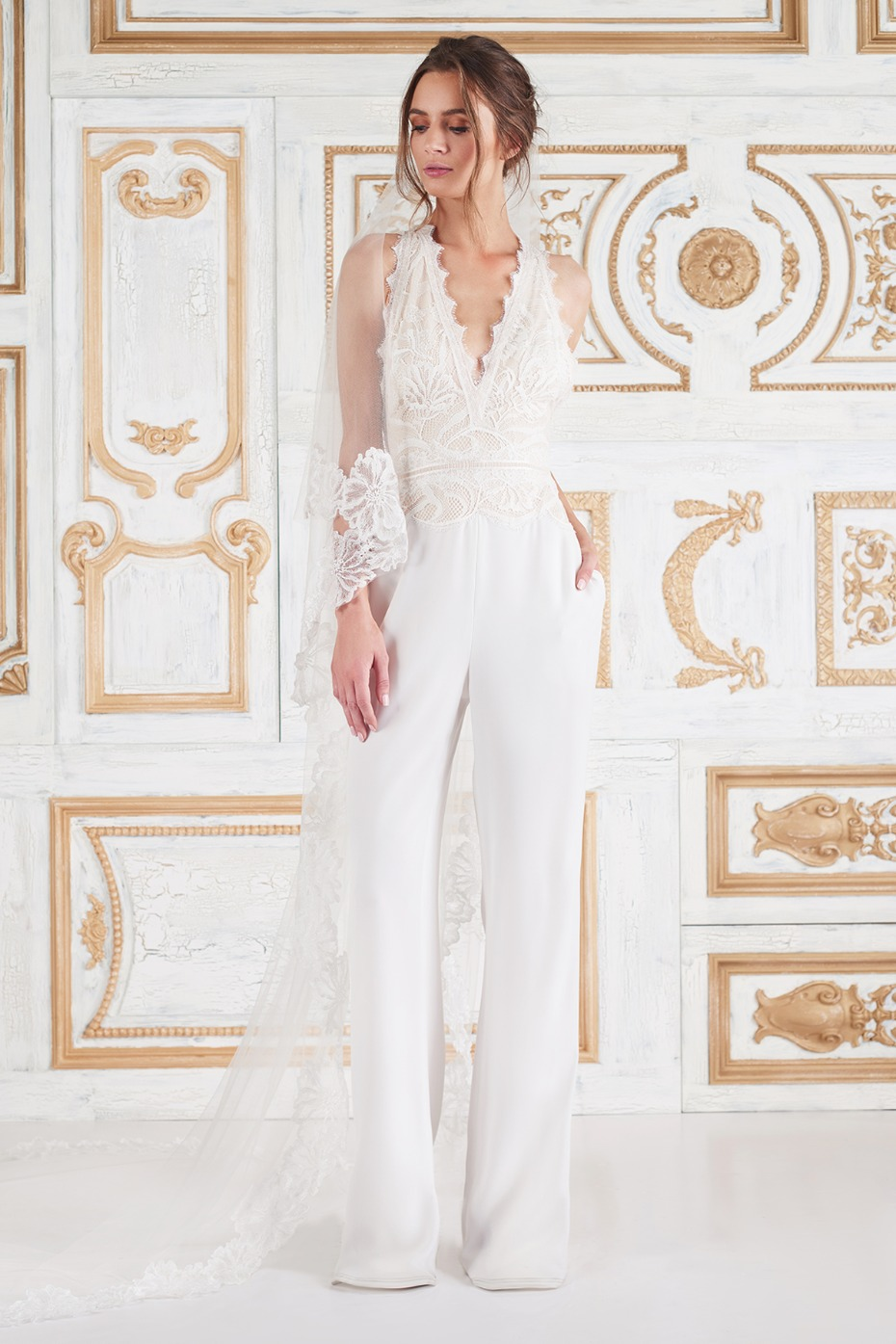 affordable pant wedding dress and veil