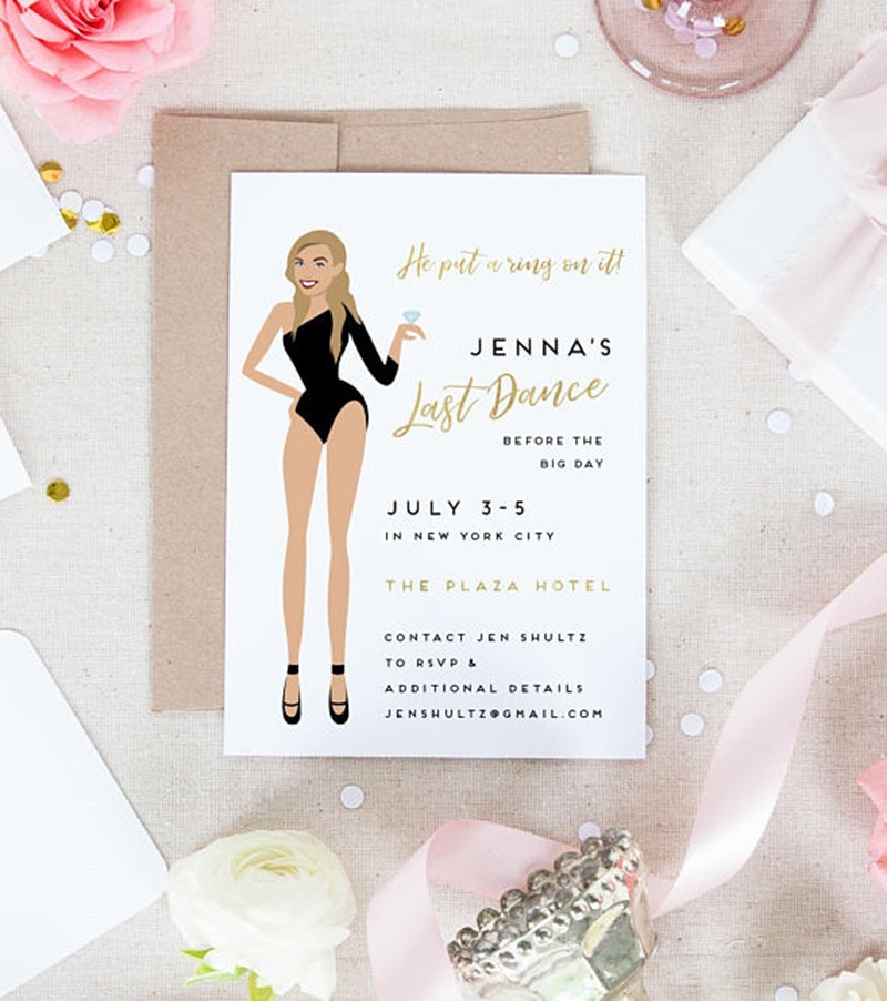 Miss Design Berry's last dance bachelorette party invitation is like NO other! Featuring a custom portrait of the bride in a fierce