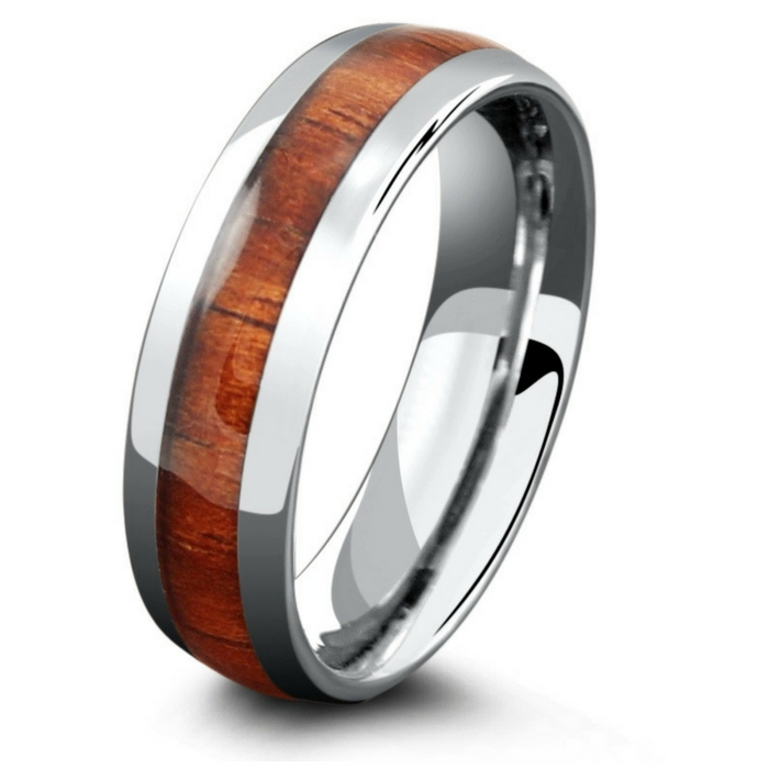 The woodland wedding ring. Crafted out of tungsten carbide making it extremely durable. Inlaid with 100% genuine koa wood.