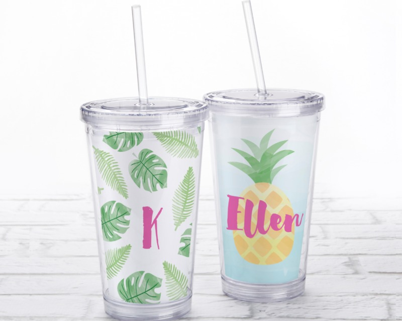 🌴 Decked out in pineapple leaves and palm fronds, or a fun pineapple graphic, this Acrylic Tumbler with Pineapples and Palms Personalized