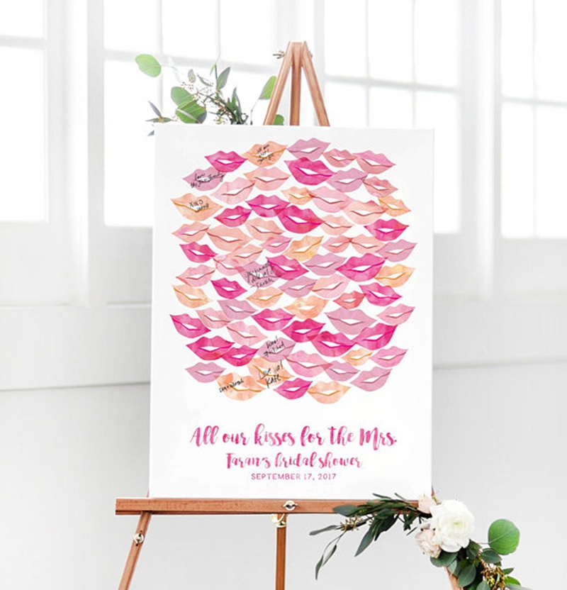 Miss Design Berry's watercolor lipstick bridal shower party guest book features kisses for each guest to sign at the party, and the