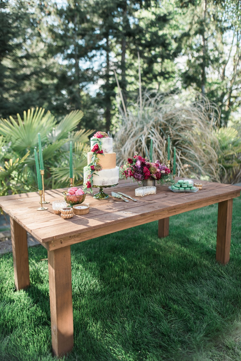 rustic green and magenta wedding dessert table