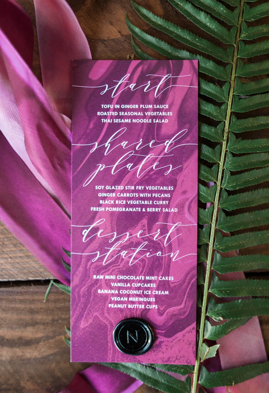 magenta marbled wedding menu