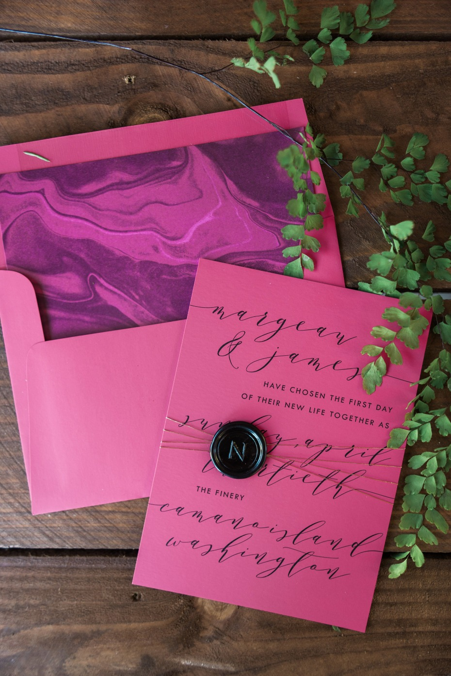hot pink wedding invitation
