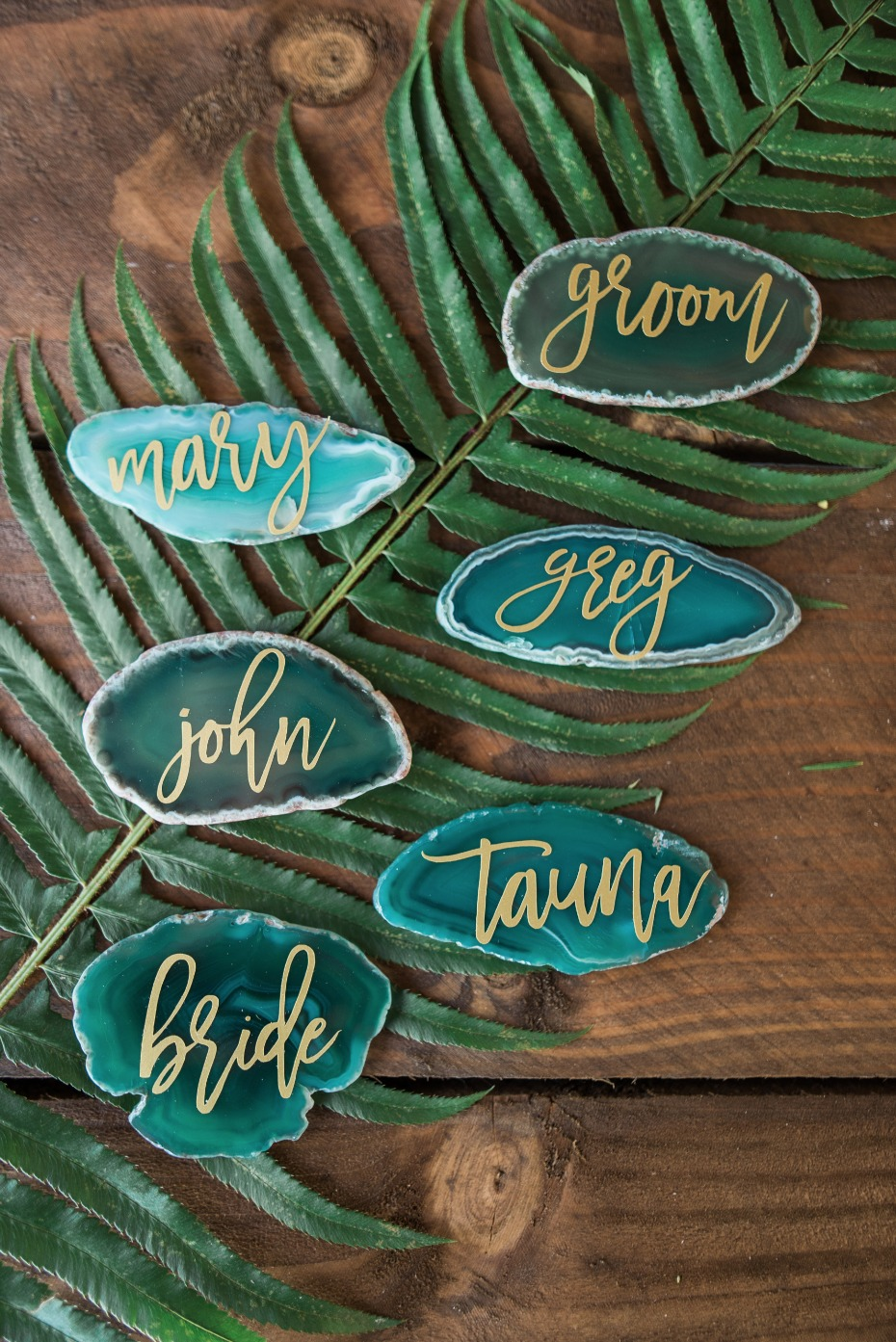 green geode wedding place cards