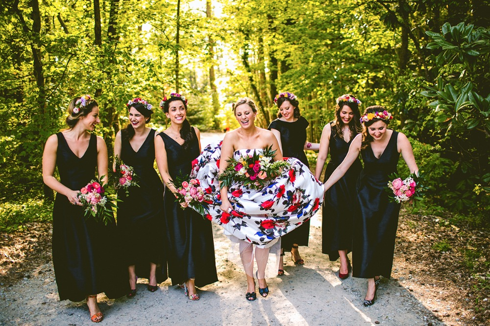 Colorful florals and black bridesmaid dresses