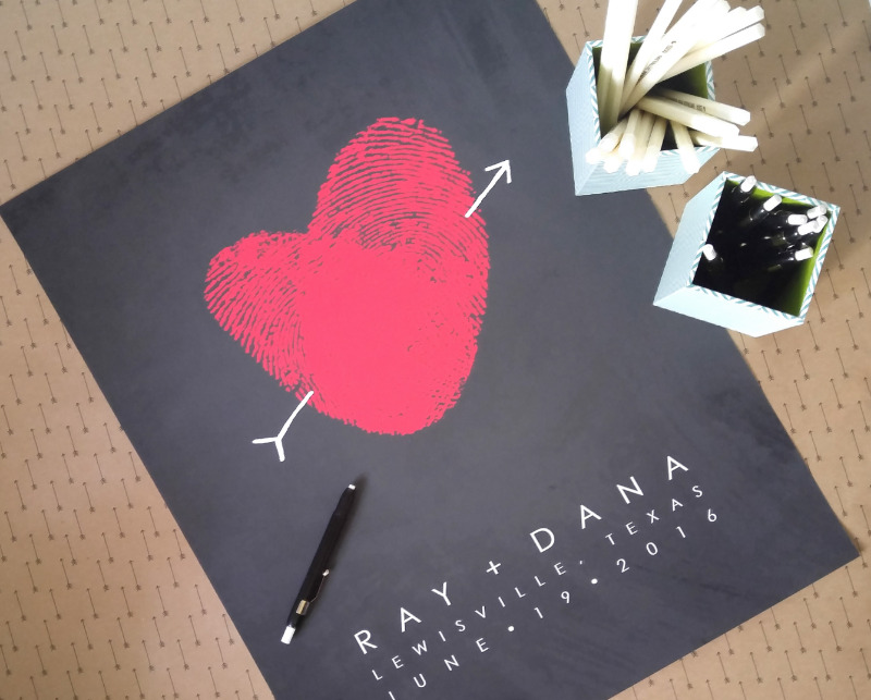 Custom guest book poster made with your fingerprints.