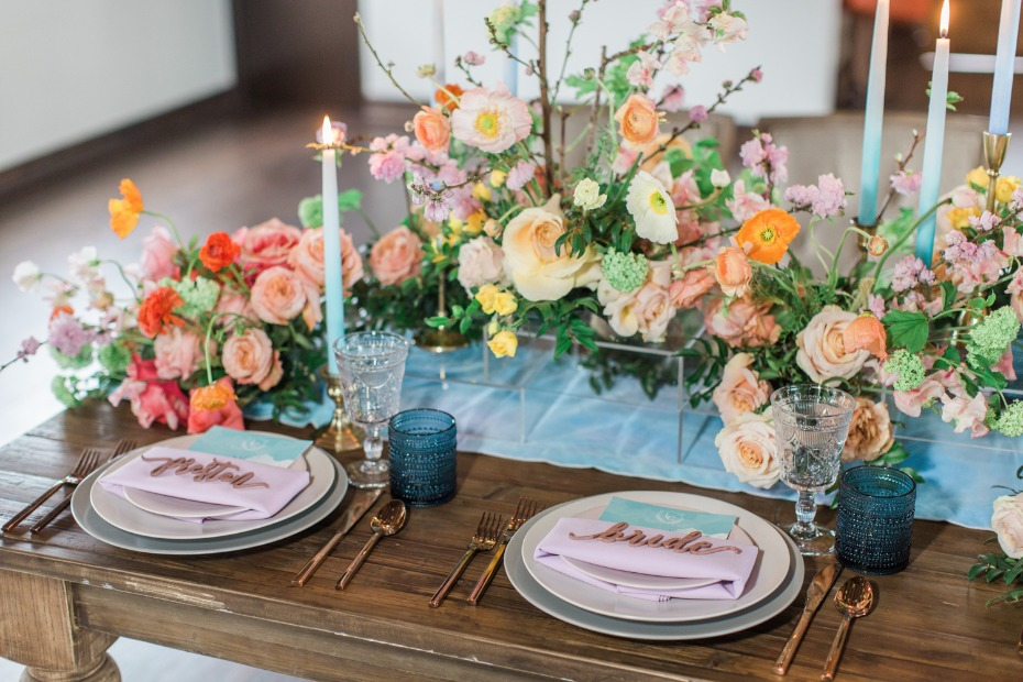 Colorful rustic tablescape