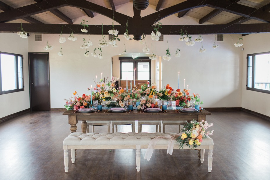Rustic tablescape with colorful florals