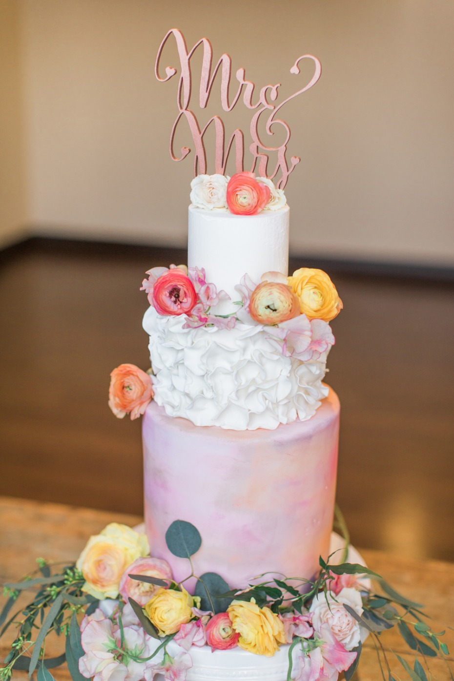 Ruffles and watercolor cake