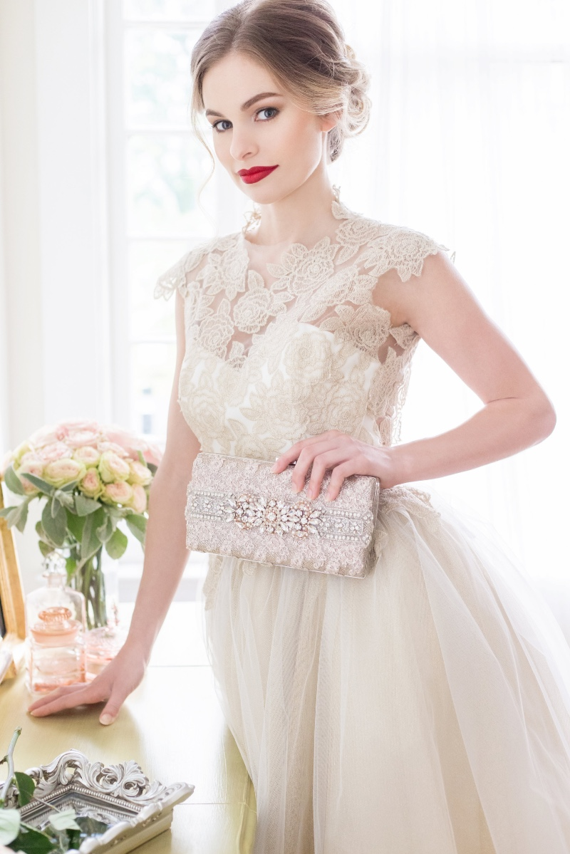 Perfect Couture bridal clutch for the bride looking for rose gold with some sparkle.