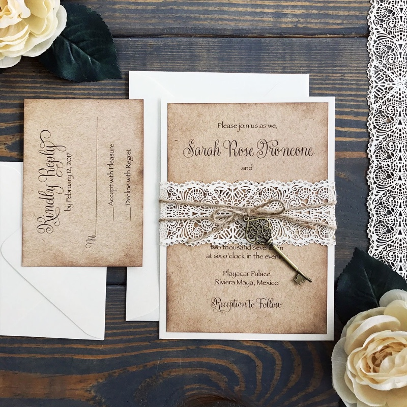 Experimenting with the newest DIY Laser Cut Lace Belly Bands on our popular, rustic invite. Topping it off with twine and vintage key