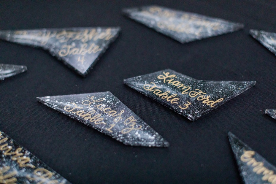 dark class wedding escort cards