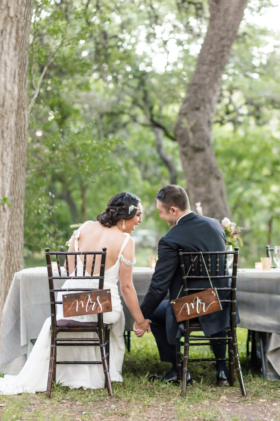 mr and mrs wedding table seat signs
