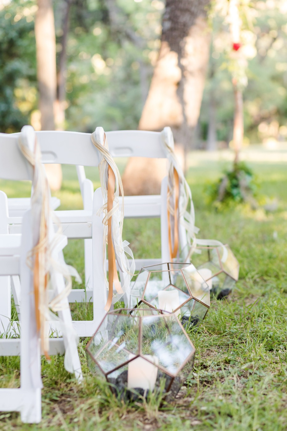 modern boho chic wedding aisle decor