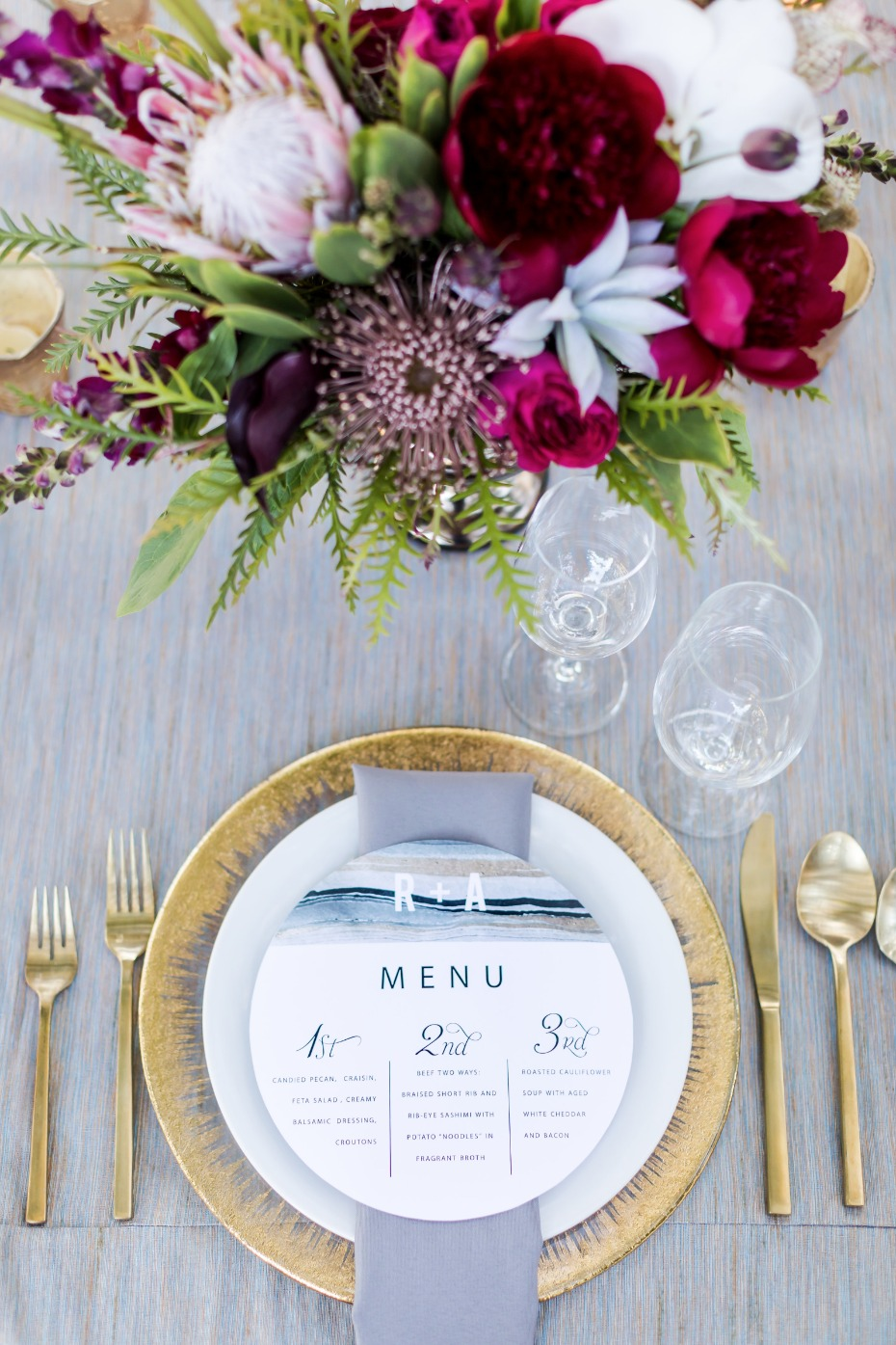 gold and grey wedding place setting