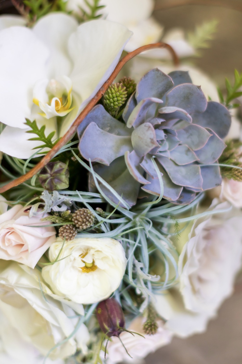 white and succulent wedding bouquet
