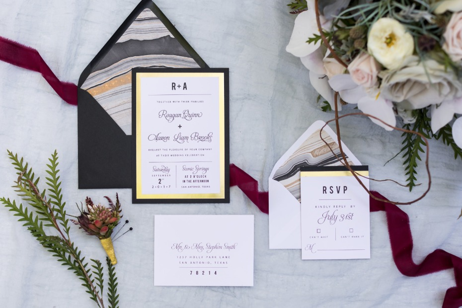 gold black and white wedding invitations