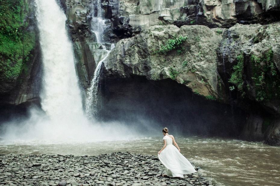 wedding at a tropical waterfall