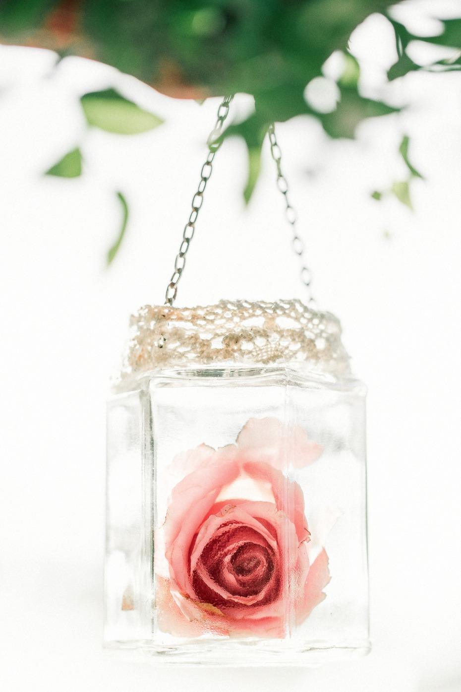 hanging wedding rose decor