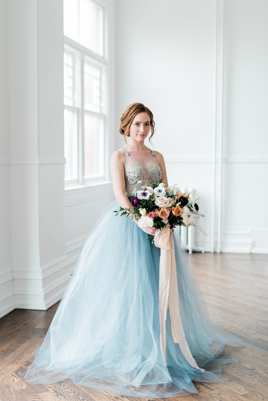 Blue Wedding Dress With Peach