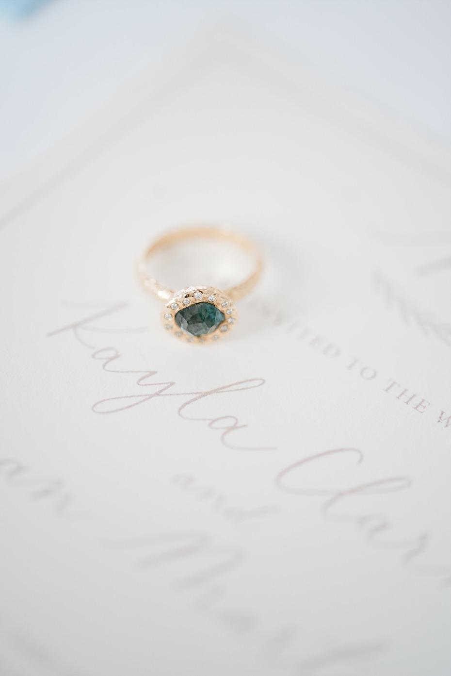 saphire and diamond engagement ring from Anouk Jewelry