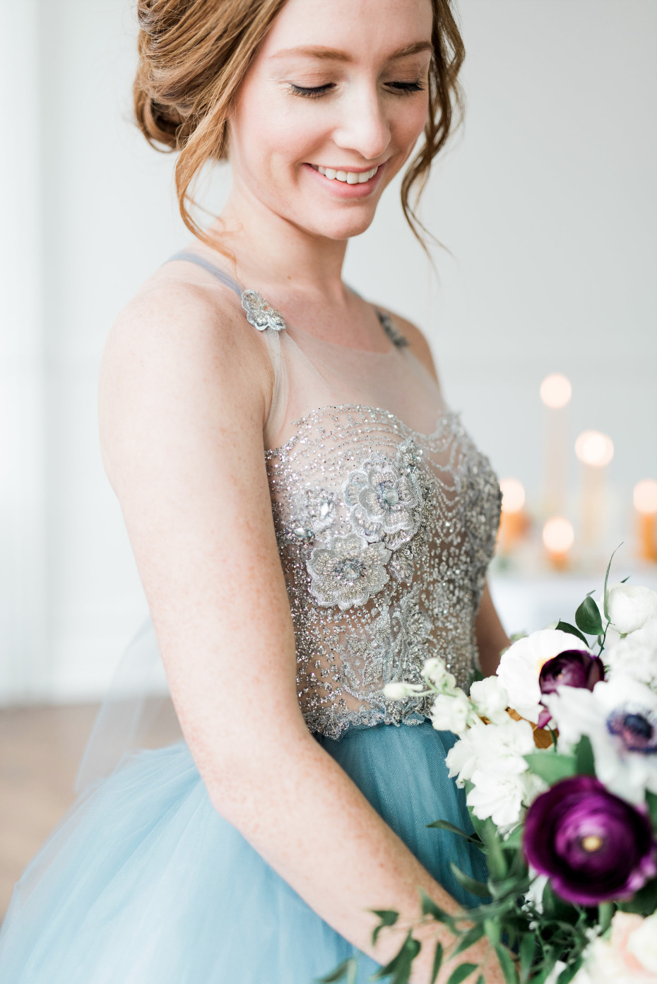 blue wedding dress with beading on top
