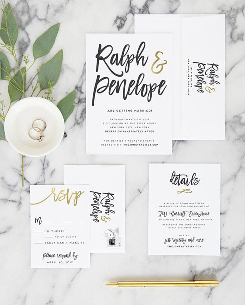 Miss Design Berry's modern rose gold wedding invitation set includes everything you need to get your big day underway in style. This