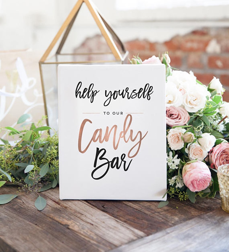Miss Design Berry's fun wedding sign features modern text with rose gold accents. If you wish to change the rose gold to another color