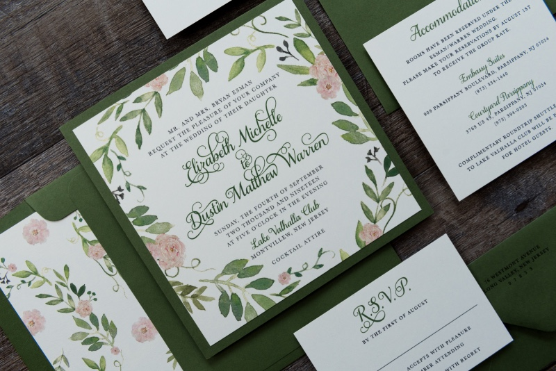 Whimsical and rustic, the Elizabeth suite's floral watercolor design is ideal for a romantic, garden theme.