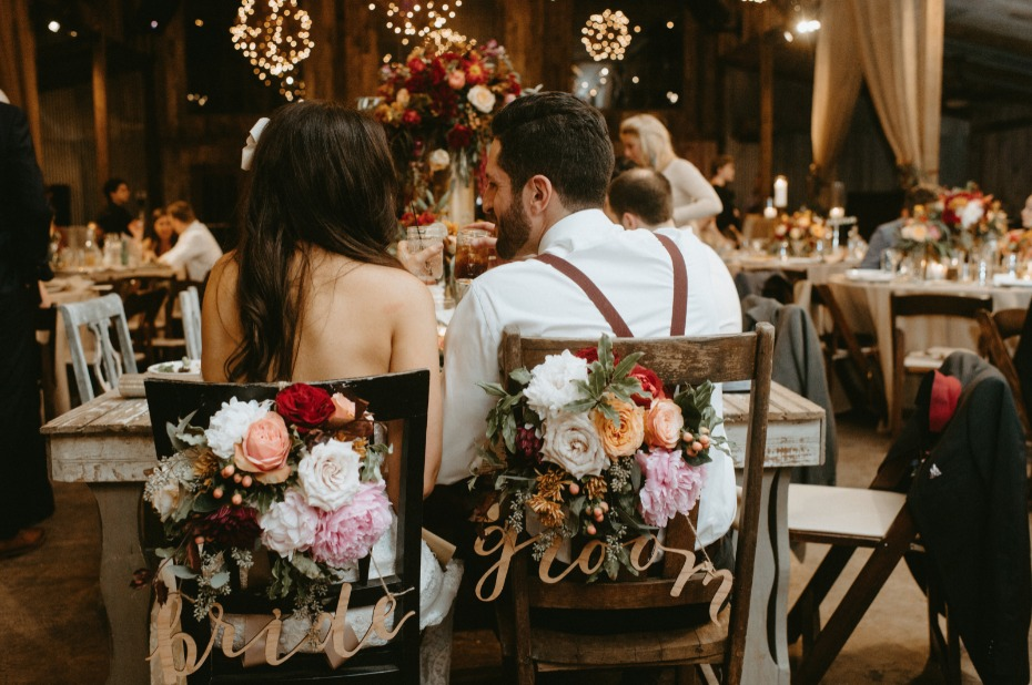 Bride and groom chair back decor