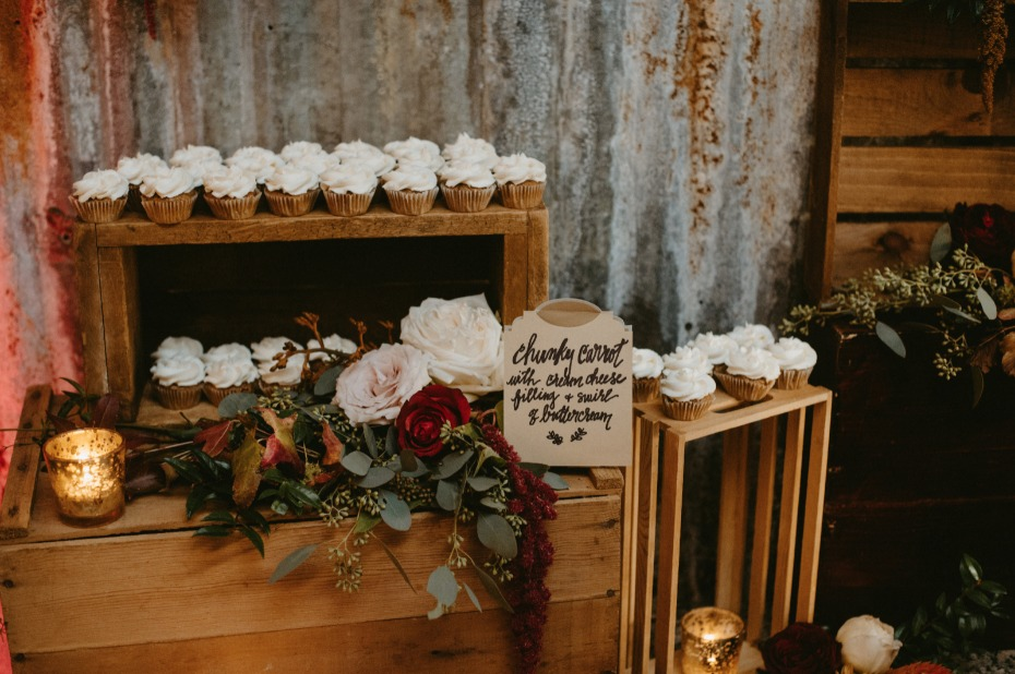 Rustic crates and cupcakes