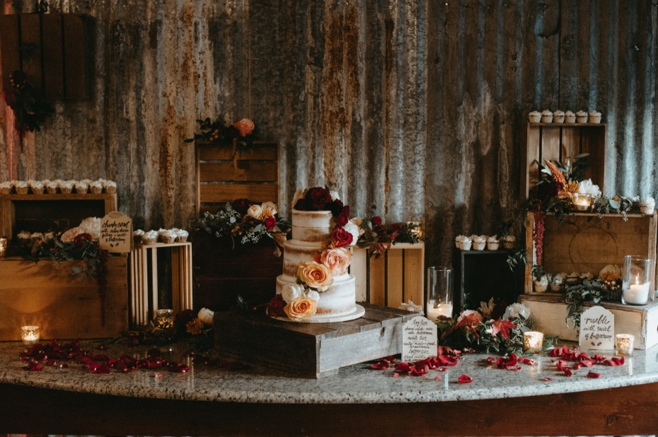 Moody fall dessert table with rustic crates