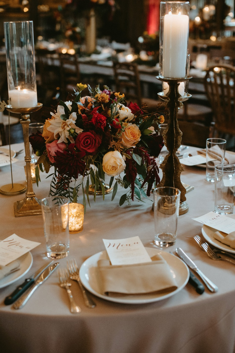 Mix and match your centerpieces for added depth