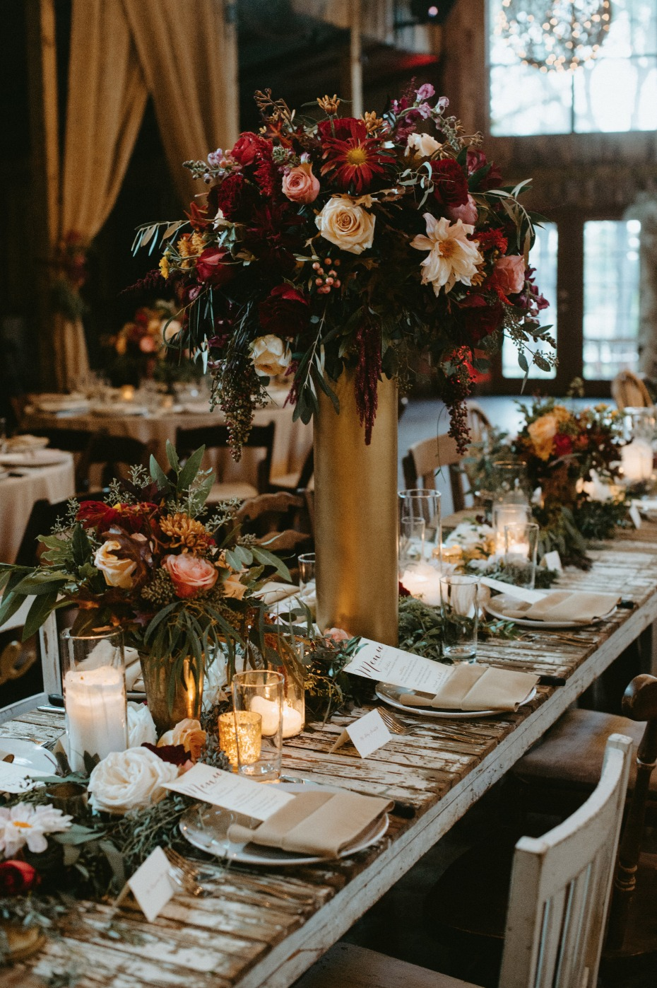 Gold vases and fall florals
