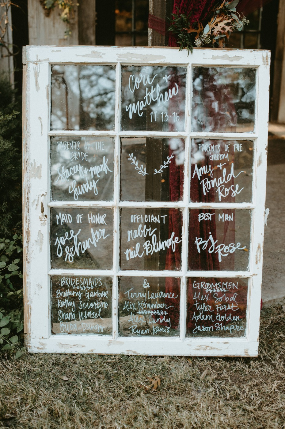 Use a vintage window to introduce your wedding party