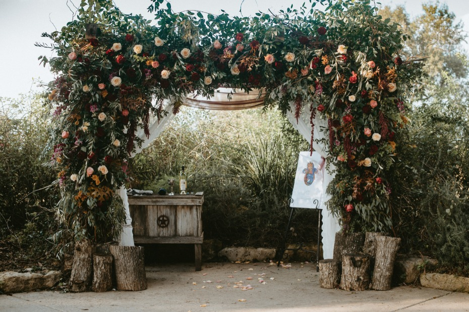 Over-the-top fall floral chuppah