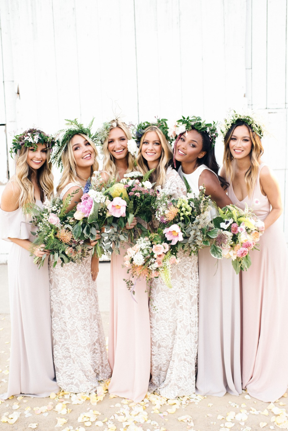 pink bridesmaid dresses and lace bridesmaid dresses for the maids of honor