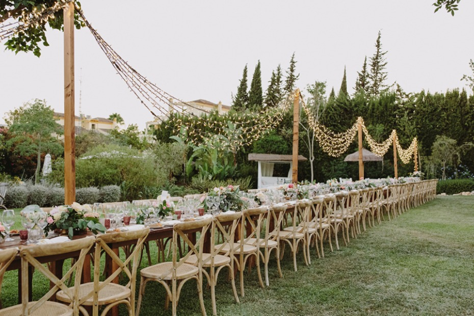 long family style reception table