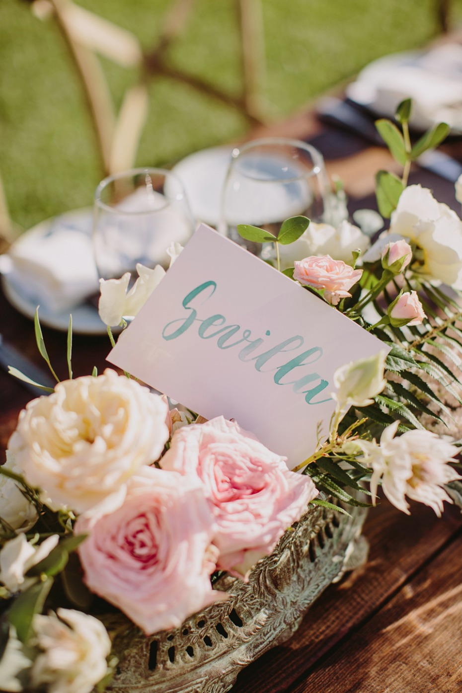 wedding table centerpiece and table number