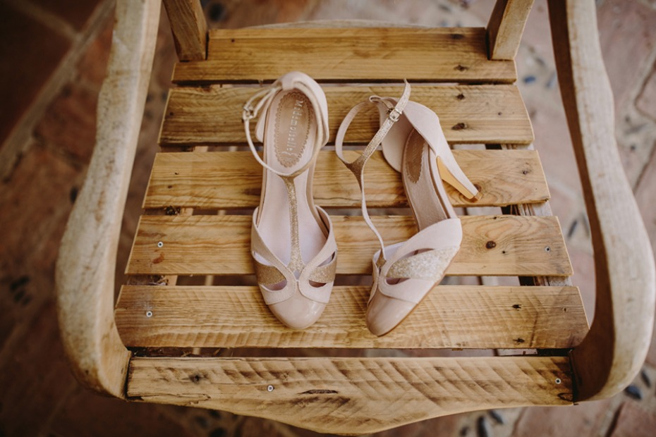 nude and gold wedding shoes