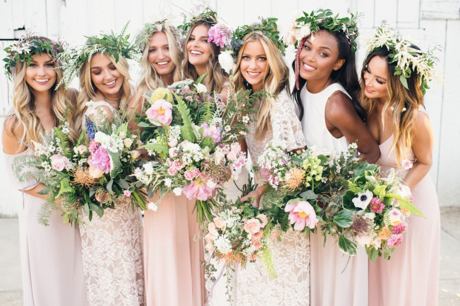 organic bouquets for the bridesmaids in Show Me Your Mumu bridesmaid dresses